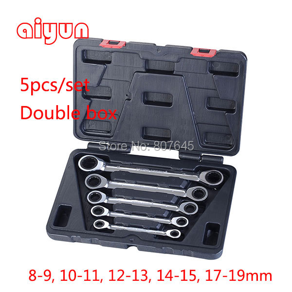 5pcs/set double box spanner combination wrench Box End Gear Wrench ratchet Wrench Set  spanner set 72T CRV 7pieces metric ratchet handle wrench set spanner gear wrench key tools to car bicycle combination open end wrenches 8mm 18mm