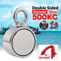 500KG Strong Double sided Salvage Magnet Fishing Magnets Deep Sea Salvage Fishing Hook Neodymium Magnet Treasure Hunters Holder