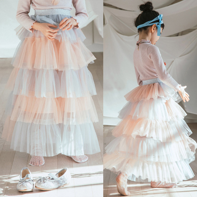 Children's clothing lace princess skirt girls skirt rainbow skirt 2018 new princess skirt spring new products grommet lace up slit back pencil skirt