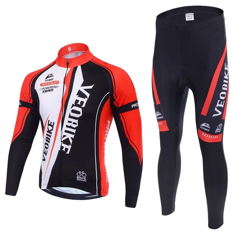 VEOBIKE Brand Winter Thermal Fleece Pro Team Cycling Jersey Set Long Sleeve Bicycle Clothes Mountain Bike MTB Clothing Men Women