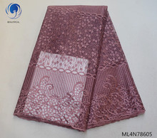 BEAUTIFICAL Embroidery French Lace 2019 Pink African Dresses Tulle Material 5 yards/lot ML4N786