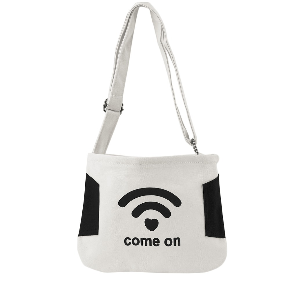 Fashion Casual Style Canvas Shopping Bags Black White Color with Funny Pattern Women Handbags Shoulder Bag ...