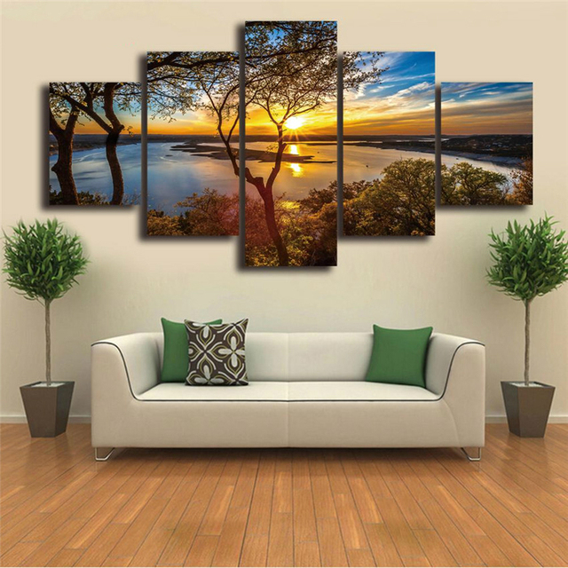 Canvas Wall Art Trees Sunset Lake Poster Prints Huge Pictures For Dining Room