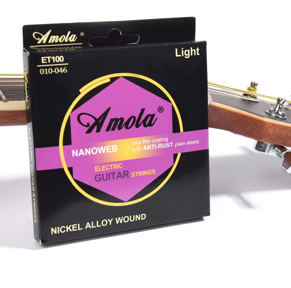Amola Electric Guitar Strings 09/10 NANOWEB Strings Bright Tone Round Wound Ulra Thin Coating For Electric Guitar ET100