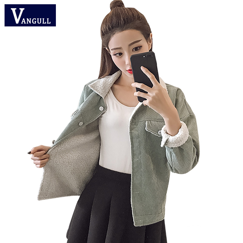 VANGULL Women Jacket Fleece lined Coats Winter Autumn Fashion Pocket Buttons Faux Fur Lining Slim Coat