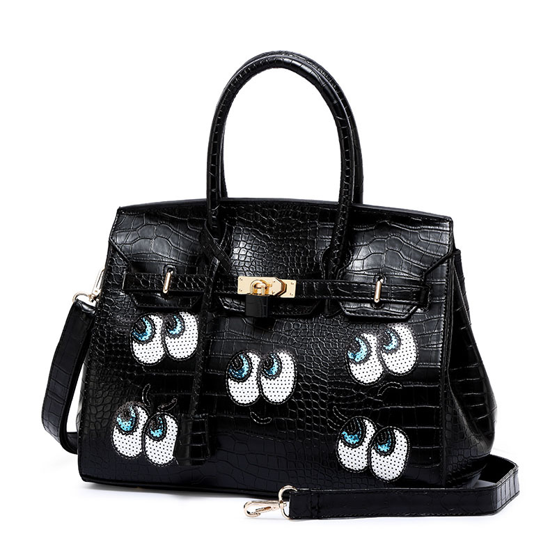 2016 new female bag new large eyes sequins platinum package crocodile pattern fashion large single shoulder