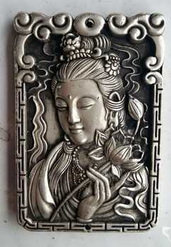 Exquisite Oude Chinese Metalen Kwan yin Avalokitesvara Gunstige Amulet Plaat plate plate metal  -