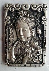 Wykwintne stare chiński metalowy kwan yin Avalokitesvara pomyślny Amulet płyta w Posągi i rzeźby od Dom i ogród na