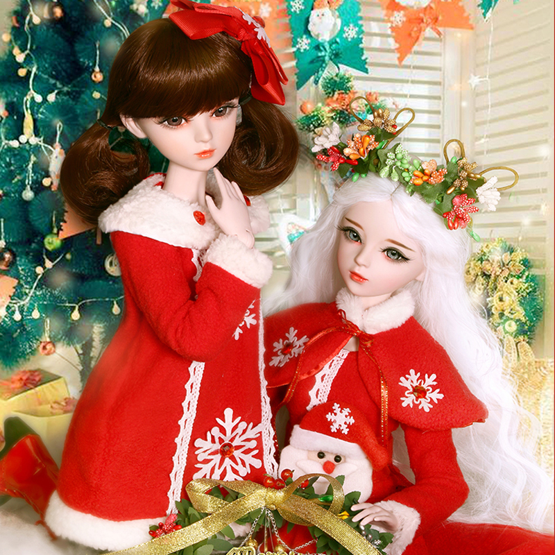 Bjd 1/3 Handmade Fashion Christmas Girl Dolls 60cm Large 23 Jointed Beautiful Doll Girls Toys for Children Gift for the New Year