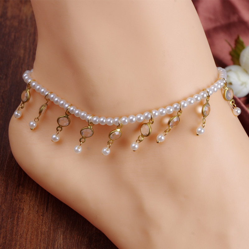 Elastic link Pearl Anklet bracelet with Crystal beads pendant women fashion foot chain girl bracelet on the leg jewelry a99