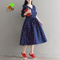 2018 Yeni Sonbahar Sanat Retro Baskılı Kiraz Pamuk Elbiseler kadın Keten Artı Boyutu Elbise Kızlar Vintage Mori Parti Giyim