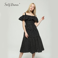 Self Duna 2017 Summer Women Slip Dress Slash Neck Black Cute Sexy Swing Polka Dot Off