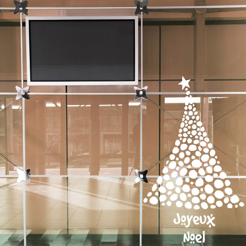 DCTAL Christmas tree glass window wall sticker decal home decor shop decoration X mas stickers xmas094