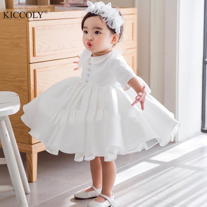 Anne ve Çocuk'ten Elbiseler'de Yeni Bebek Kız Elbise Tül Balo 1 Yıl Bebek Kız doğum günü elbiseleri Vestido Uzun Kollu Bebek vaftiz Vaftiz elbiseler title=