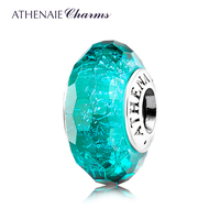 ATHENAIE Genuine Murano Glass 925 Silver Core Faceted Fascinating Iridescence Teal Shimmer Charms Bead Fit All