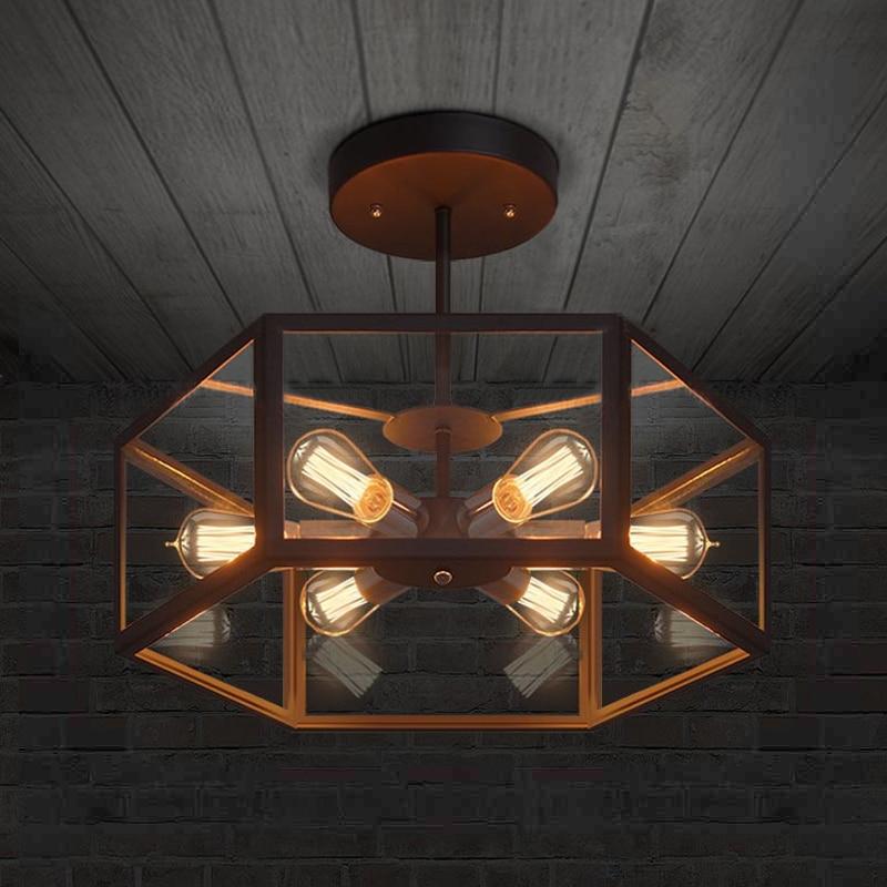 American industrial retro style creative Cafe restaurant light bar Hexagonal glass ceiling lamp