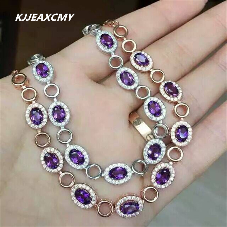 KJJEAXCMY Natural Amethyst female bracelet, inlaid jewelry wholesale, S925 silver wholesale wholesale
