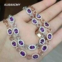 KJJEAXCMY Natural Amethyst Female Bracelet Inlaid Jewelry Wholesale S925 Silver Wholesale
