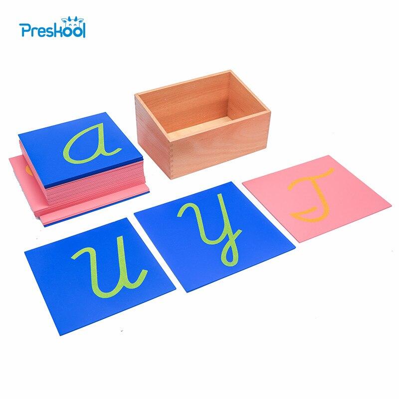 Preskool Bébé Jouet Pour Enfants Montessori Papier de Verre Lettres Minuscules En Capital Cursive avec Boîte Brinquedos Juguetes