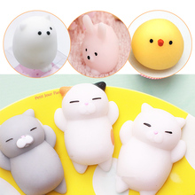 Novelty Squeeze Squishy Toy Cat Kawaii Soft Silicone Ball Animal Squeeze Toy Anti Stress Polar Bear Rabbit Gift for ADHD Adults