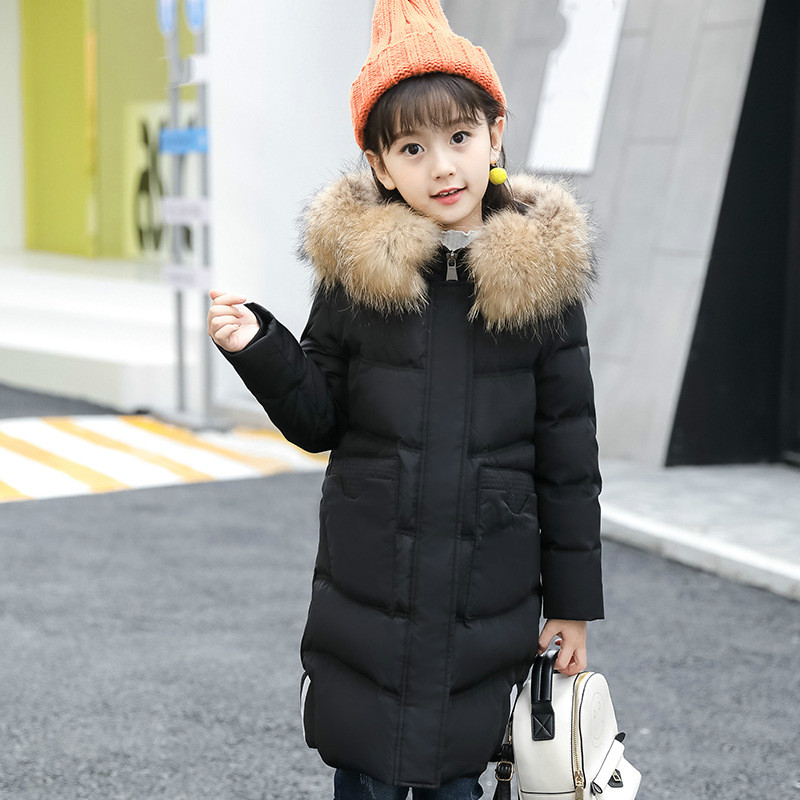 New down jacket girls in fashion medium length thick warm winter coat hooded big hair collar duck down clothing down jacket. стоимость