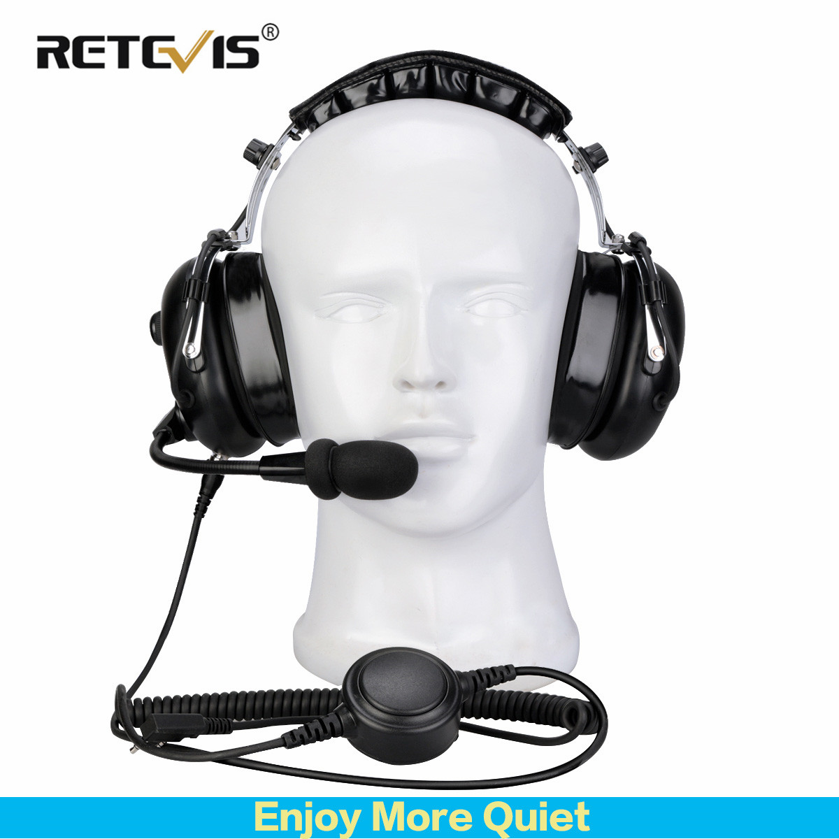 Noise Reduction Headphone Retevis Black EH070K 2 Pin Binaural Sleep Work Headset For Kenwood Baofeng Soundproof 24dB Anti-noise