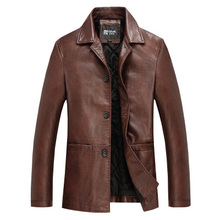 Leather clothing men's clothing autumn and winter leather jacket fashion business casual turn-down collar Leather Coat