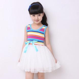 Фото Summer Baby Girl Puffy dress Dancing clothing Princess Tutu Dress Rainbow striped dress Kids clothing