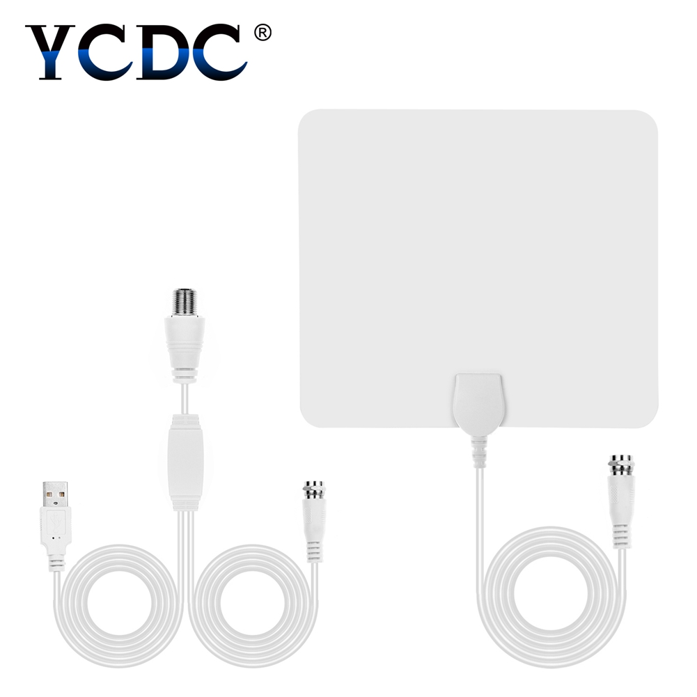 YCDC Indoor Digital TV Antenna Miles Amplified Indoor HD Digital TV Antenna 25db Gain White Aerial Board Home HDTV Cinema
