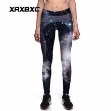 NEW 0031 Fashion Sexy Girl Women Star sky Galaxy Black 3D Prints High Waist Workout Fitness