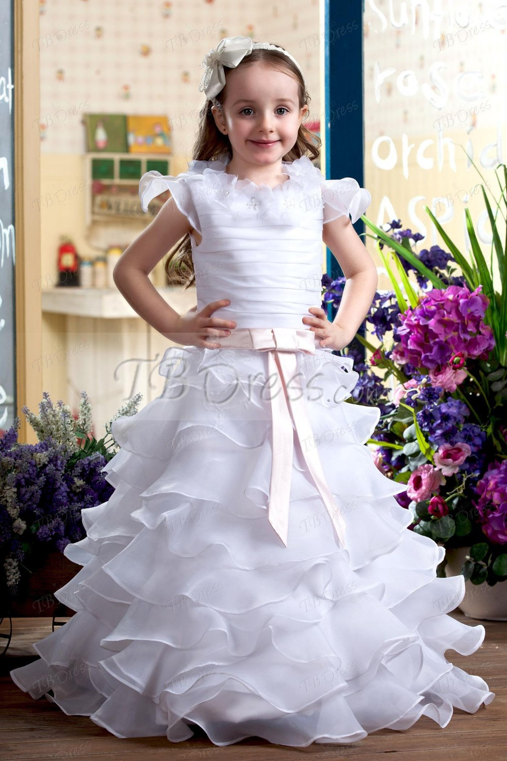 New Bohomian Princess White Flower Girl Dress Fluffy Ball Gown Girls Birthday Pageant Gown Tutu First Communion Dress new boho white lace flower girl dress a line o neck girls first communion dress pageant gown any size