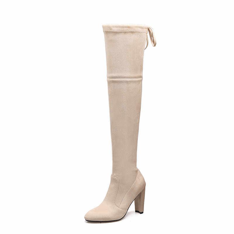 MORAZORA 2020 artı boyutu 34-46 diz çizmeler üzerinde kadın sivri burun sonbahar streç çizmeler seksi yüksek topuklu bayanlar balo parti ayakkabıları