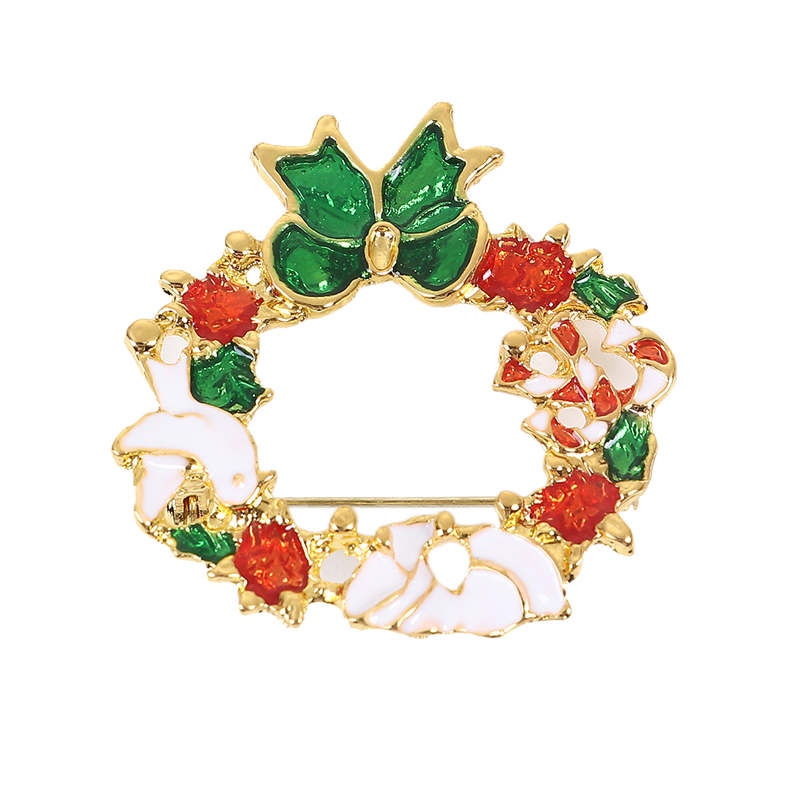 DoreenBeads 1PC Christmas Wreath Badge Enamel Golden Red Green Safety Pin Brooch Cardigan Sweater Deco New Year Party 44*41mm