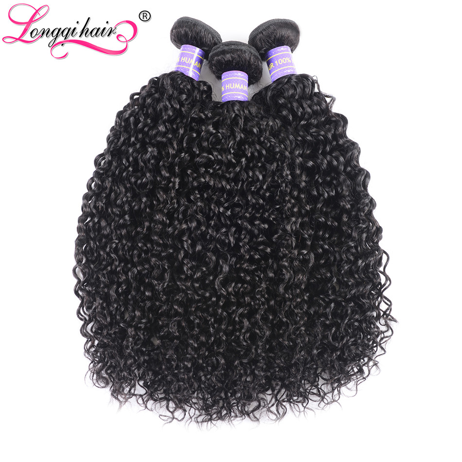 Longqi Hair Peruvian Curly Hair Weave 3 Bundles Natural Black Remy Human Hair Extension Double Weft