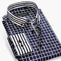 New 2017 Spring Fashion Men Casual Plaid Shirts Striped Button-Up Collar Long Sleeve Slim Fit Cotton Formal Men Dress Shirts