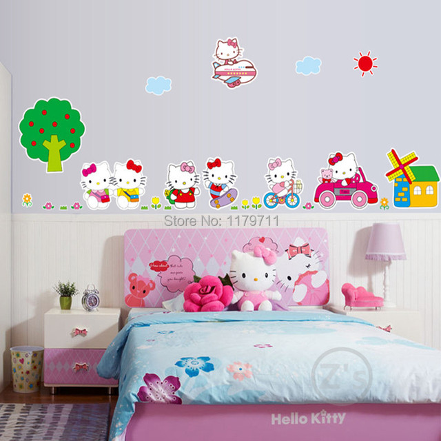 zs sticker hello kitty wall stickers home decor cartoon wall decal