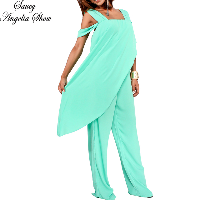 9c89a896cd65 SAUCY ANGELIA Rompers Womens Jumpsuit Vogue Sexy Chiffon Zip Irregular  Shawl Bodysuits Side Cape Party Overalls Femme Playsuits. 1 order