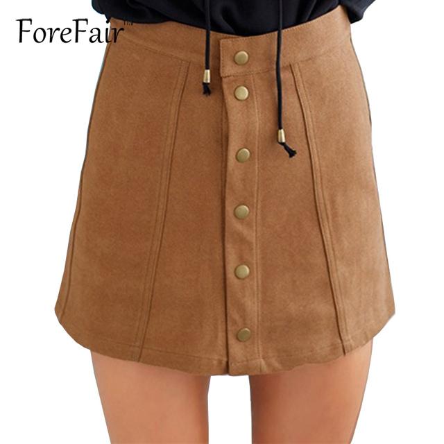 2017 de la moda de alta calidad de imitación de cuero de gamuza faldas mujeres 80's 90's classic vintage botón de cintura alta una línea de falda