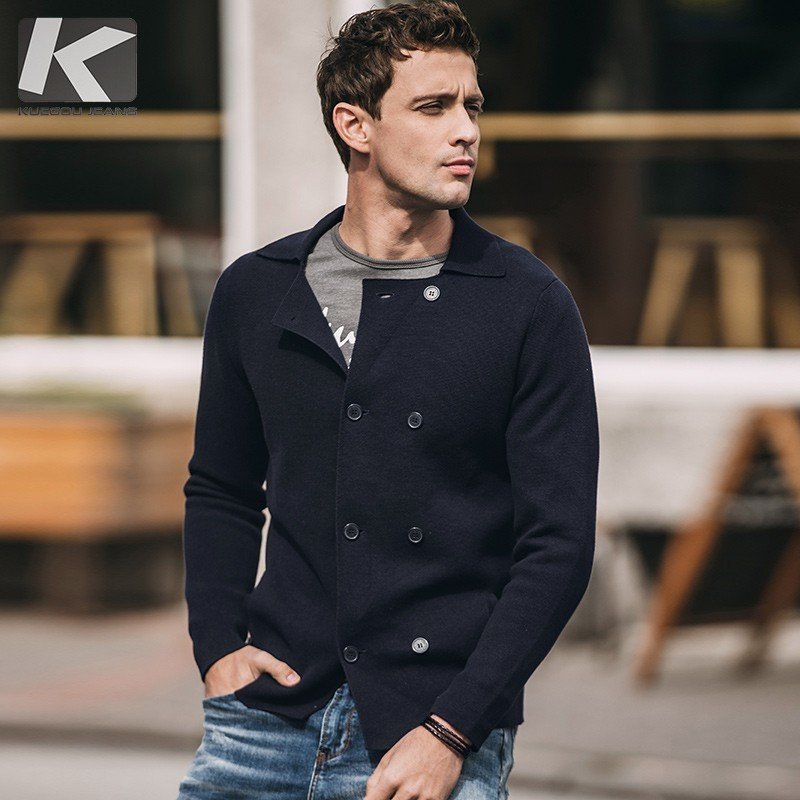 Autumn Men Sweater 100% Cotton Solid Blu