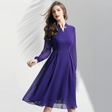 Dress Chiffon Women Spring 2019 New Fashion Solid Color V-Neck Long Sleeved High Waist Slim A-Line Elegant Purple Dress Midi long sleeved dress women 2019 spring summer new simple stripes turn down collar slim a line casual elegant dress midi s xl