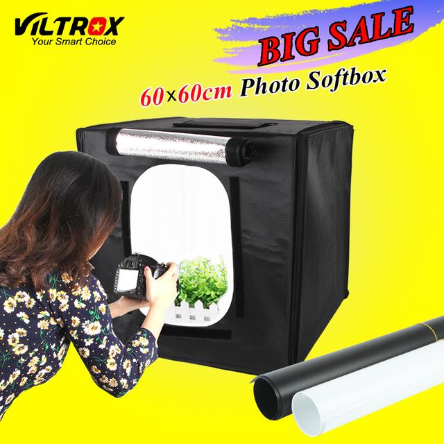 Viltrox 60*60 cm led photo studio softbox shooting tent light soft caja + Bolsa de Portátil + Adaptador de CA para Joyería Juguetes Shoting