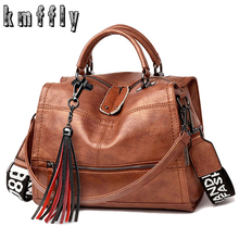 2019 Famous Brand Women Handbags Tassel Luxurious Leather Lady Messenger Bags Wide Shoulder Strap Leisure Women Shoulder Bags