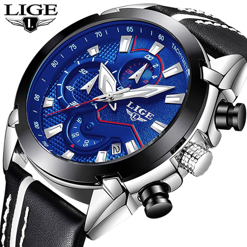 LIGE Brand Men Leather Strap Military Watches Men's Chronograph Waterproof Sport Date Quartz Wristwatch Gifts relogio masculino насос фонтанный grinda gfp 33 2 5