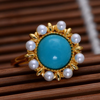 S925 sterling silver jewelry with natural Pearl Rose flower, female ring, open national style
