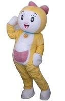 חמה למכירה 2015 מבוגרים חליפת חתול קמע תלבושות קריקטורה חמוד צהוב מפואר dress מסיבת קמע תלבושות