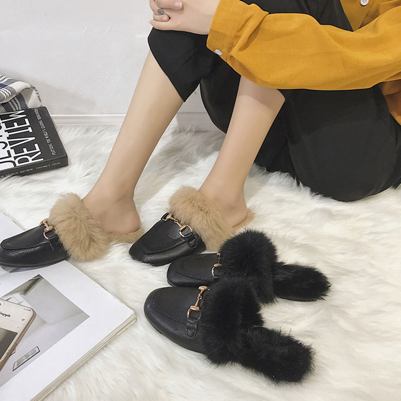 Warm Outside Slippers Ladies Flat Casual Mule Shoes Women Fashion Slides Fur Sandals Female Slippers Woman Lazy Shoes Flip Flops ms noki fashion solid string bead women slides flat with summer flip flops ladies slippers casual outside women platform slides