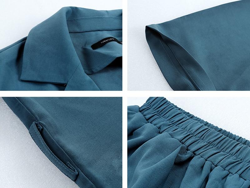 Summer Women Cotton Short Tracksuit Lace Up Jacket Blazer & Elastic Waist Shorts Loose Female Suit with shorts 2 Pieces Set 22