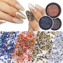 цены 1Box New 3D Glitter Caviar Micro Diamond Nails Rhinestones Crystal Non Hotfix Rhinestones Need Glue Nail Art Decoration