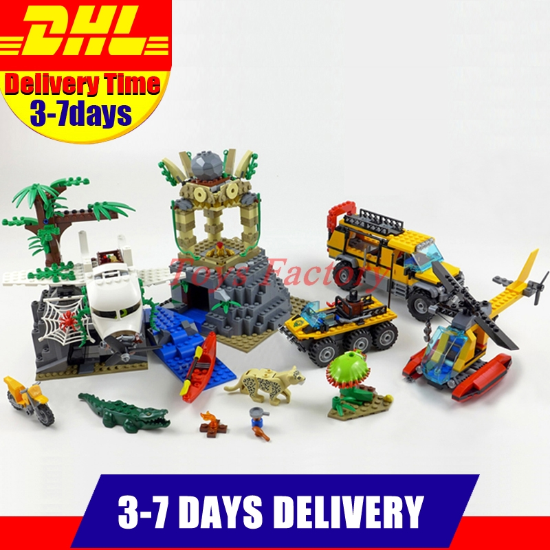 DHL 870Pcs Lepin 02061 Genuine The Jungle Exploration Website DIY Toy City Series 60161 Building Blocks Bricks Model lepin 02061 genuine city series the jungle exploration site set 60161 building blocks bricks christmas gift for children 870pcs