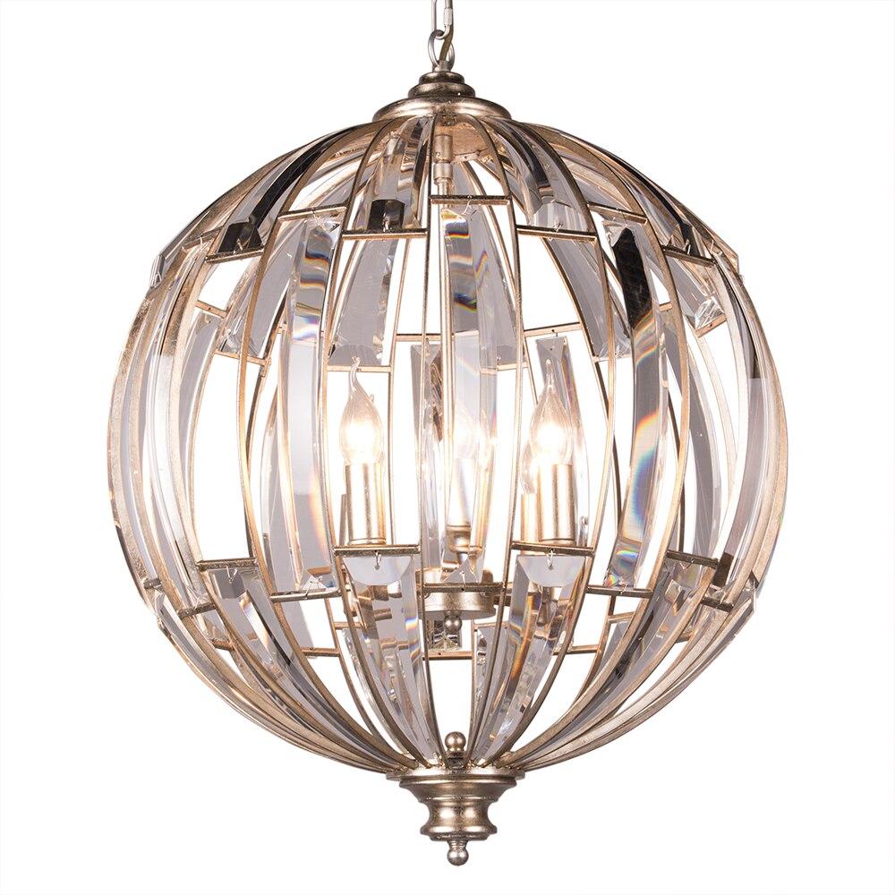 Винтажный Глобус Хрустальное подвесное освещение античный серебряный лист лампы стали dia55 height70cm 1,5 м цепи, регулируемая собранная упаковка